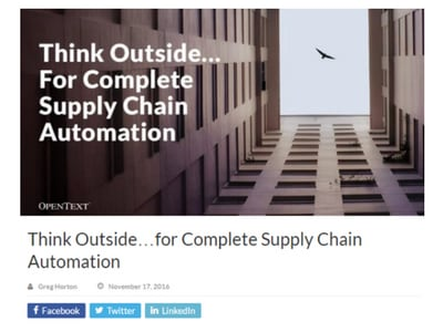 Think Outside…for Complete Supply Chain Automation